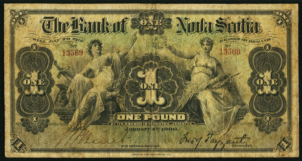 Extremely rare Bank of Nova Scotia 1 pound issued in Kingston, Jamaica, and dated 2 January 1900 (Ch.#550-380-202). It comes graded PMG Very Fine 20. Image courtesy & © Heritage Auctions.