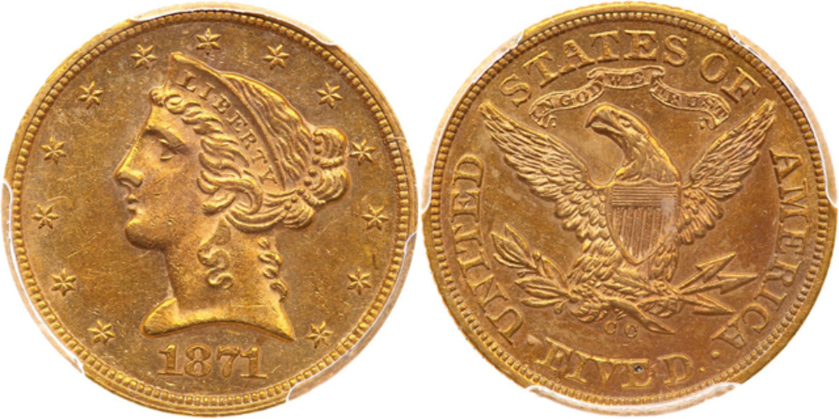 This MS-61 1871-CC five dollar gold piece is just one of two known in Mint State.
