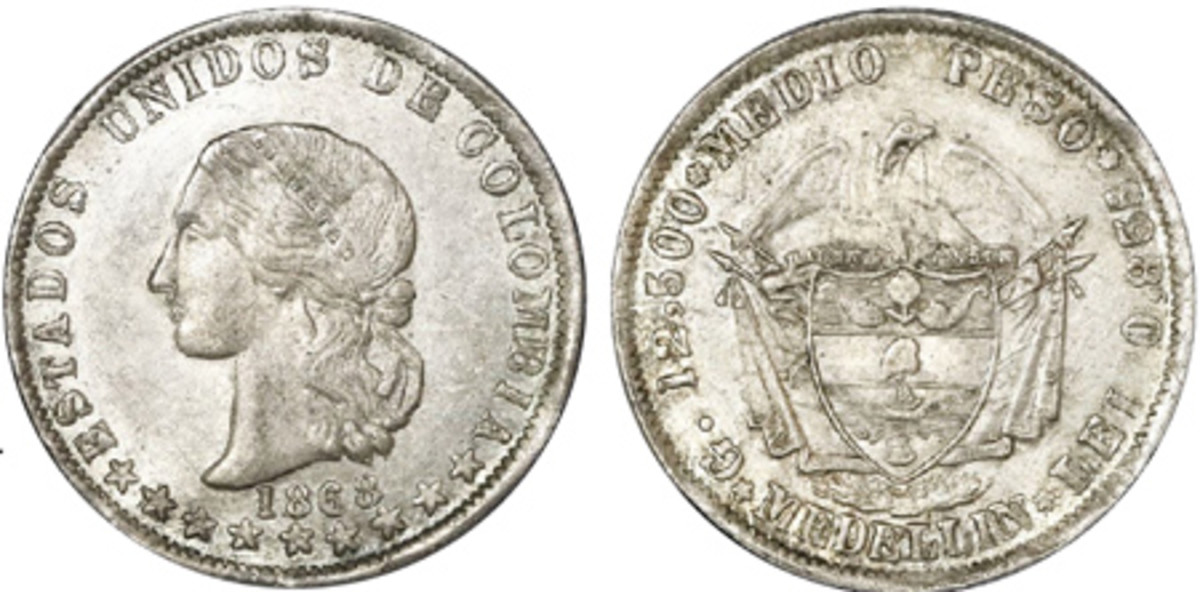 The finest known example of the extremely rare Medio peso of 1868 struck at Medellin went to a new home and will probably remain there for a very long time.
