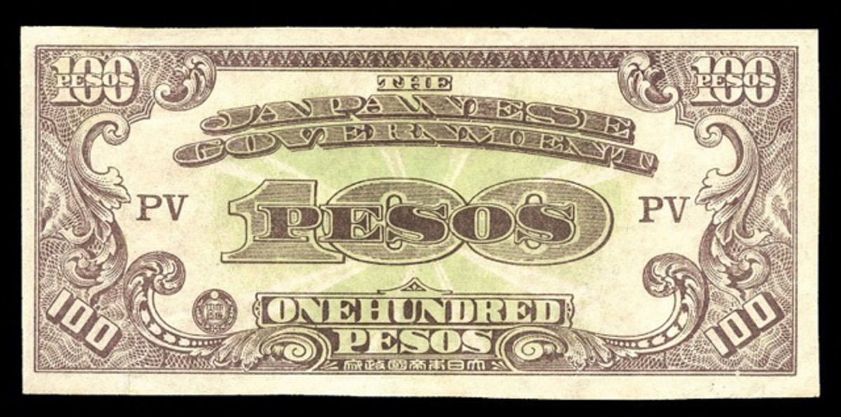 Rarest note of the entire JIM series: 100 pesos c. 1945, P-113. With just five examples known, this example in VF had no difficulty in finding a new home for $9,988.