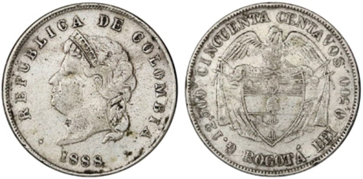 """The """"Cocobola"""" Cincuenta centavos struck at Bogota in 1888 is one of the great rarities in the Colombian half dollar series. Only five are known and only two of them have surfaced at auction to the best of my knowledge. (All images courtesy Daniel Frank Sedwick, LLC.)"""