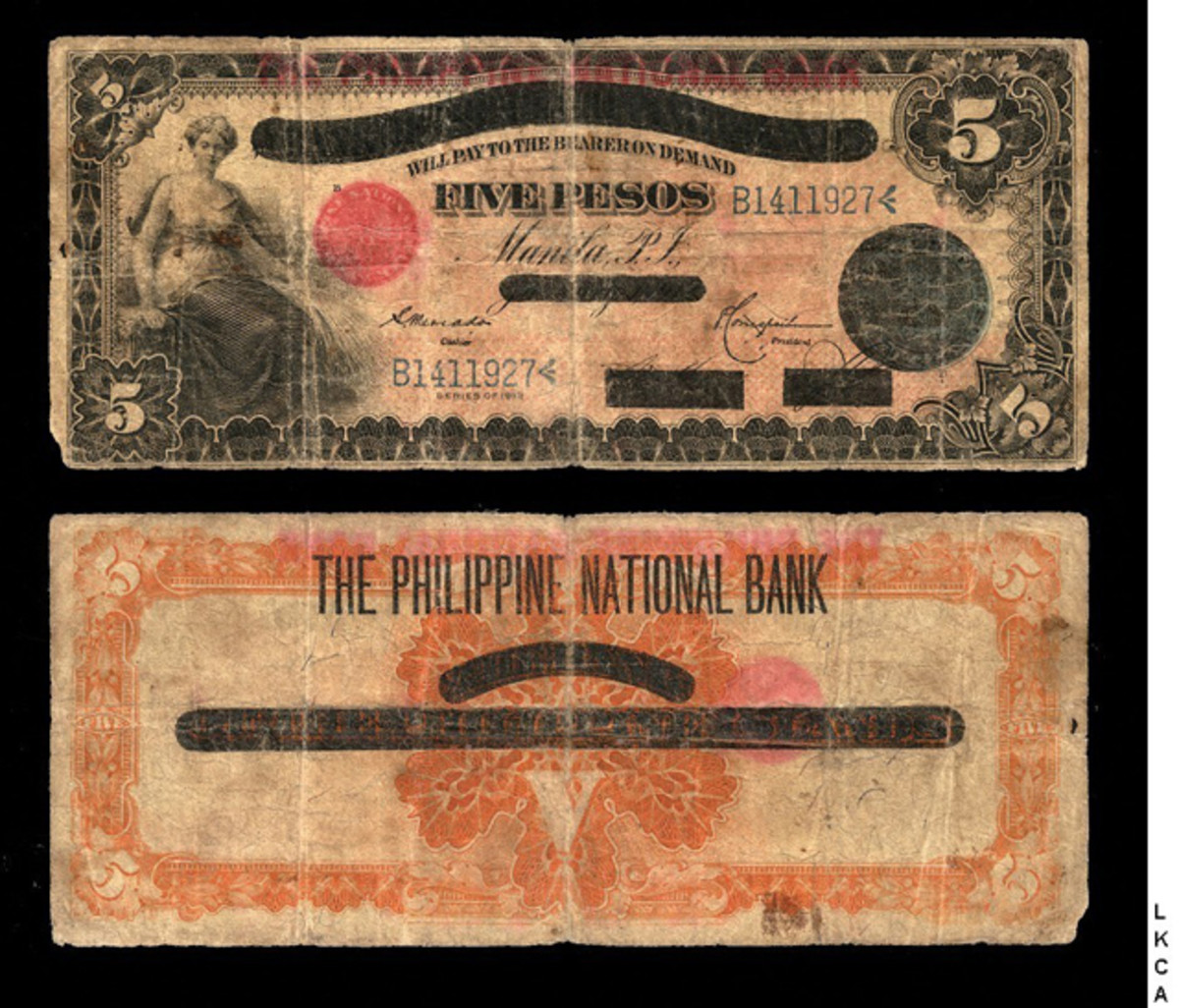 """Philippine National Bank five pesos overprint, P-43; old date 1912, new issue date 1919. An unknown number were printed and despite being graded, """"VG 8 Apparent minor damage; small rust stains; overprint bled through to back."""" it sold for $5,993."""