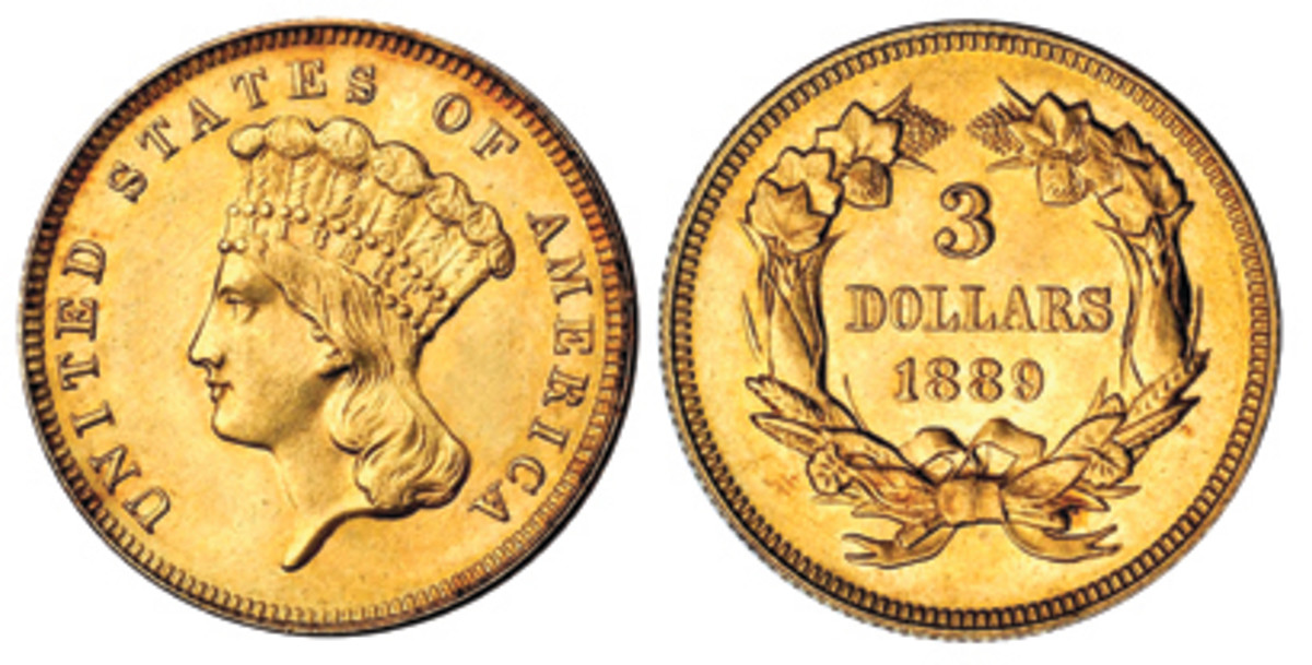 The end of the $3 gold coin denomination came with the last coins struck in 1889. (Stack's Bowers image)