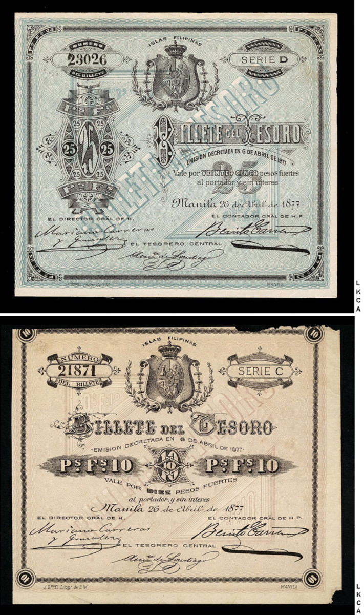 The 25 pesos (P-A15) and 10 pesos (NIP) Spanish Philippines Billete del Tesoro of April 26, 1877 that sold for $21,150 and $19,975 respectively. Prior to this sale Neil Shafer did not know of the existence of a 10 pesos from this 1877 series. It is not listed in any catalog.