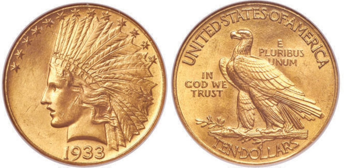 This 1933 gold eagle graded MS-65 by NGC brought $360,000 after attracting 45 bids.