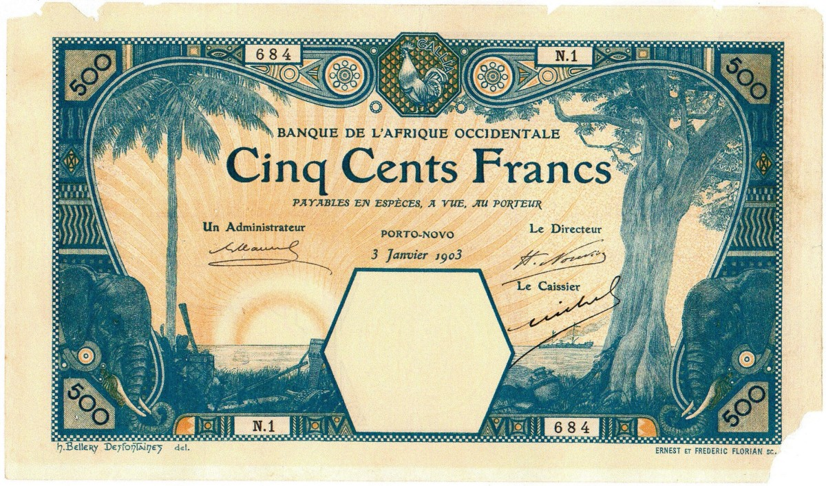 Issued PORTO NOVO trading post first series of 1903, 500 franc note.