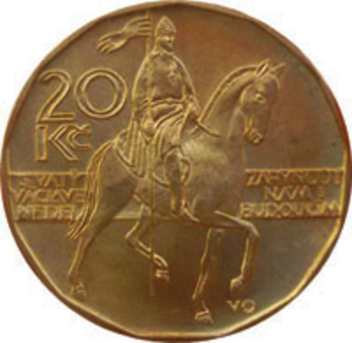 Duke Wenceslas returns, right, on the first issue brass-plated 20 korun, KM-5, introduced in 1993 by the new Czech Republic. (Image courtesy www.ha.com)