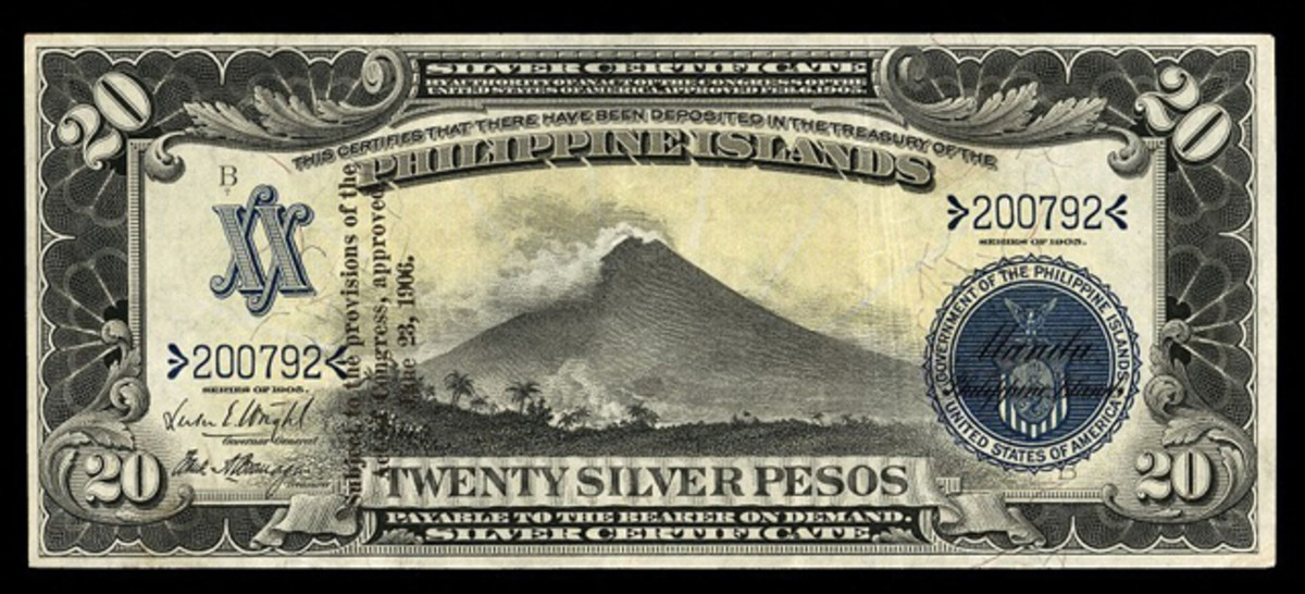 """Ultra-rare, unissued, overprinted Philippine Islands 20 pesos Silver Certificate of 1905, NIP, that fetched $23,500 in EF 40 EPQ. The auction catalog comments, """"In this shocking condition, this original is an absolute treasure for any Philippines collection."""""""