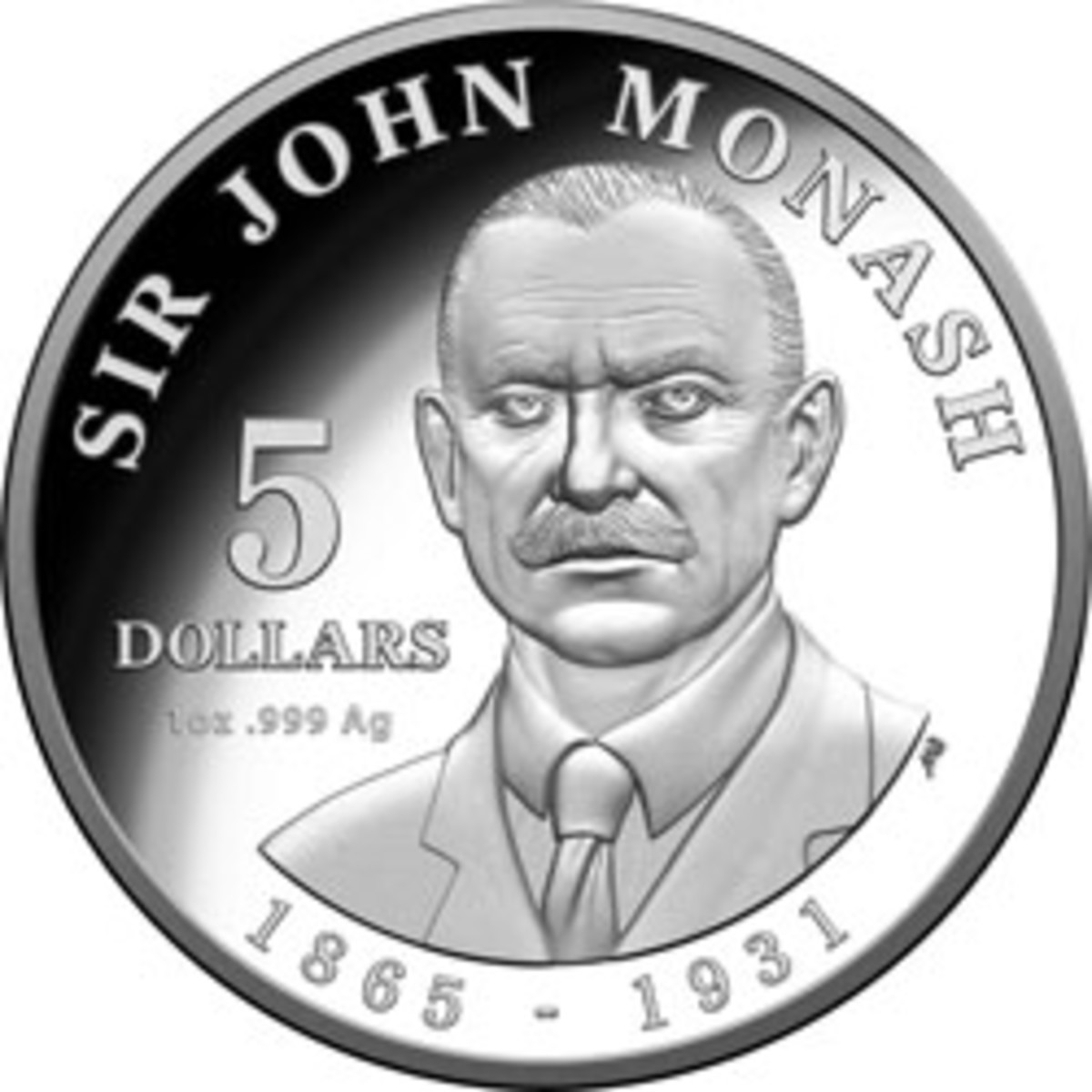 The RAM's numismatic tribute to General Sir John Monash GCMG, KCB, VD: a $5 silver proof. (Image courtesy & © RAM)