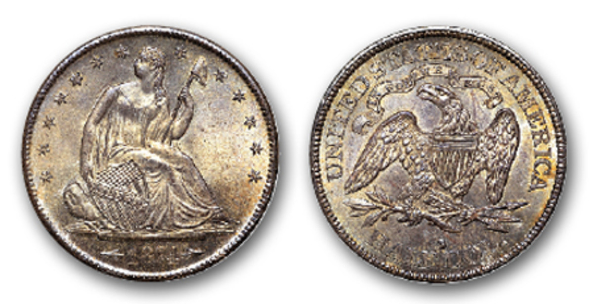 This scarce 1874-S Seated Liberty half dollar with arrows at the date is a rare issue of a small mintage of coins, just 394,000. (Image courtesy Heritage Auctions)