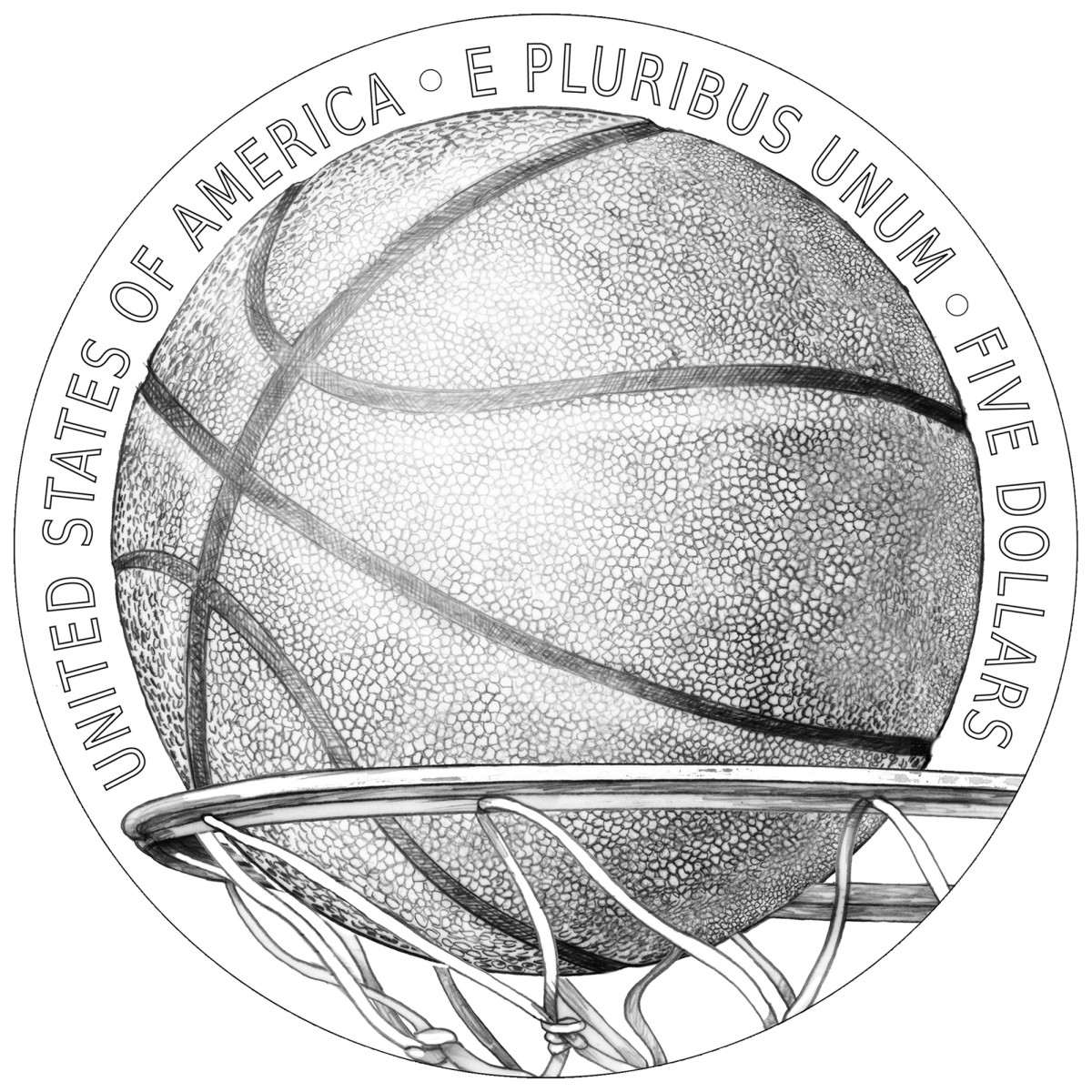 The reverse, designed by Donna Weaver, depicts a basketball about to pass through the net.