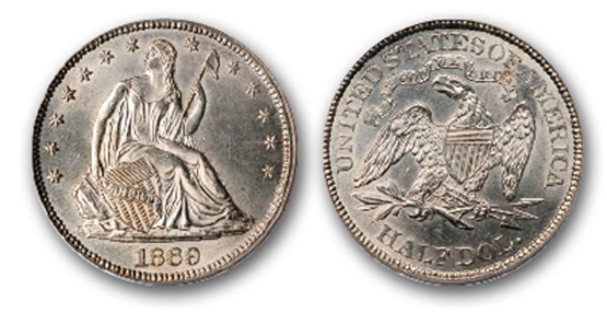 1869 Seated Liberty half dollar, MS-62, with the motto on the reverse. (Image courtesy Stack's Bowers)