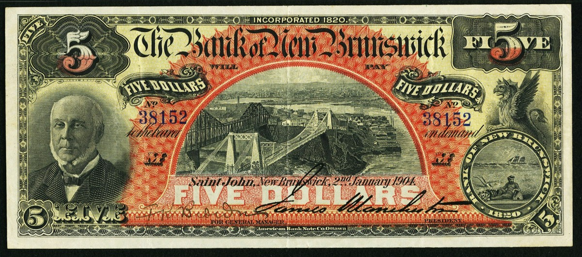 Bank of New Brunswick $5 drawn on St. John and dated 2 January 1904 (Ch.# 515-18-04) to be offered ex-Harry M. Eisenhauer collection graded a remarkable PMG Extremely Fine 40. Image courtesy & © Heritage Auctions.
