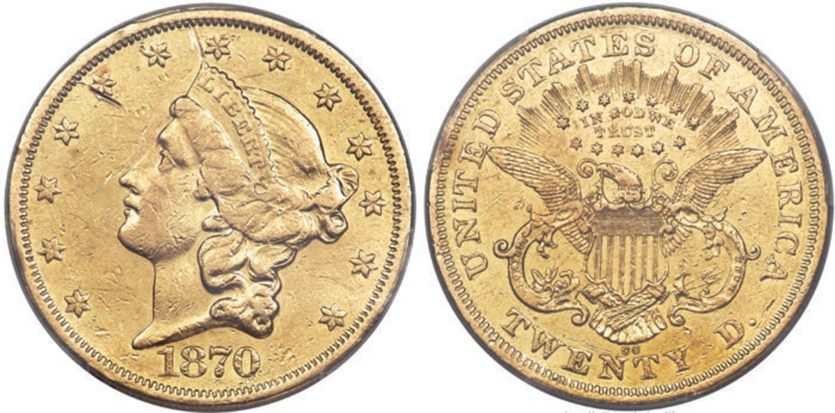 Carson City gold collectors will surely have their eye on this 1870-CC double eagle.