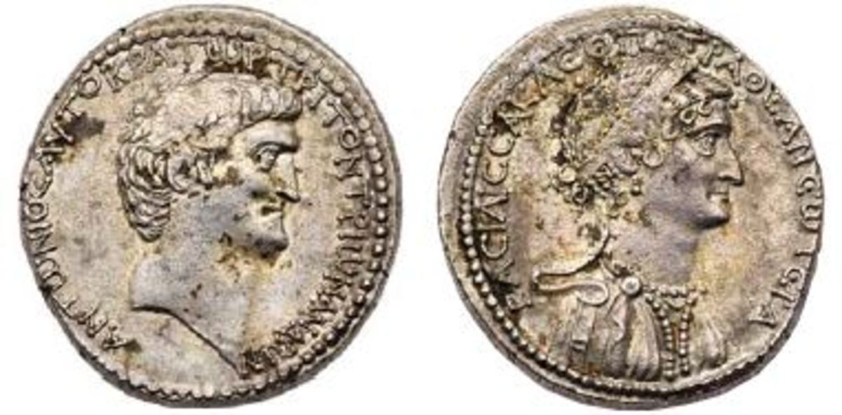 Antony and Cleopatra:  Shown is a 36 BC tetradrachm of Mark Antony and Cleopatra.  (Photo credit: Lyle Engleson, Goldberg Coins & Collectibles)