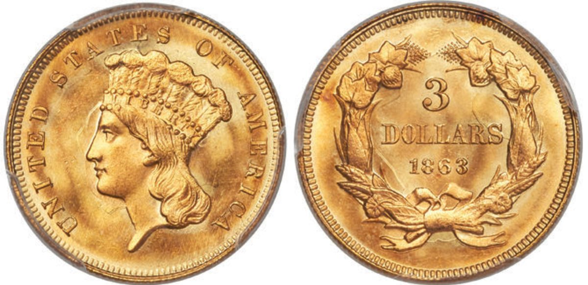 A piece of history from the Civil War, this 1863 $3 gold coin is a rarity in MS-68 grade.