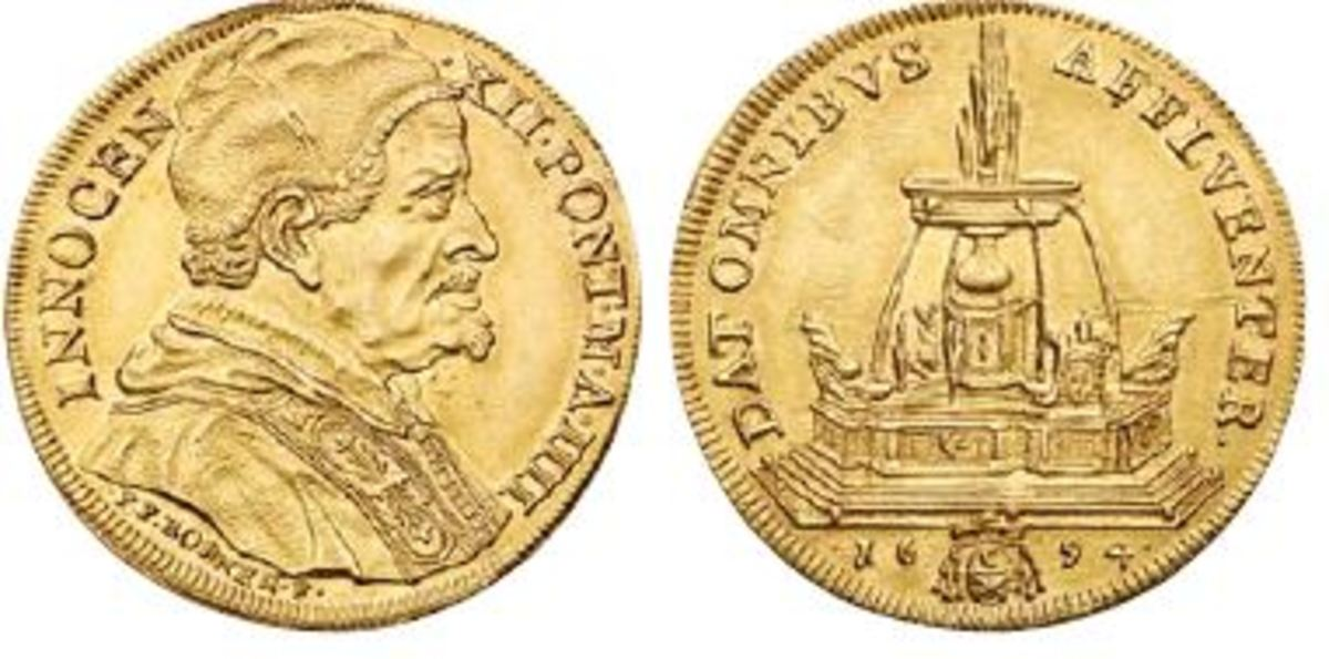 Pope Innocent XII: A Mint State quadruple scudi d'oro of Pope Innocent XII (papacy 1691-1700) is a featured rarity. (Photo credit: Lyle Engleson, Goldberg Coins & Collectibles.)