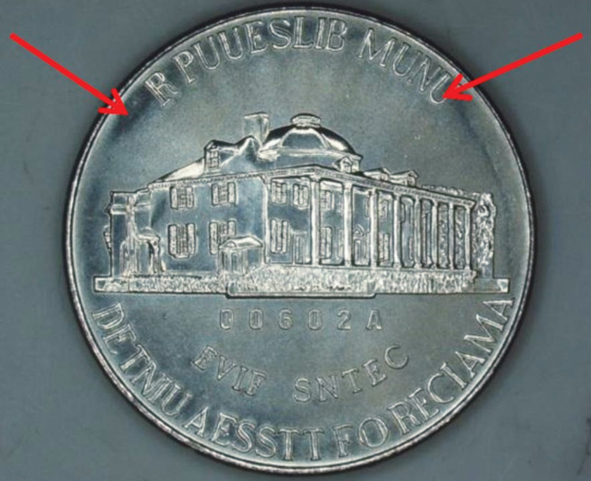 Reverse of the Martha Washington nickel test pieces.
