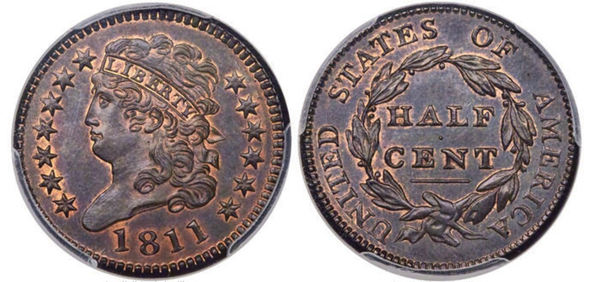 A standout among early copper coins, this 1811 Classic Head half cent is designated MS-66 Red and Brown by PCGS.