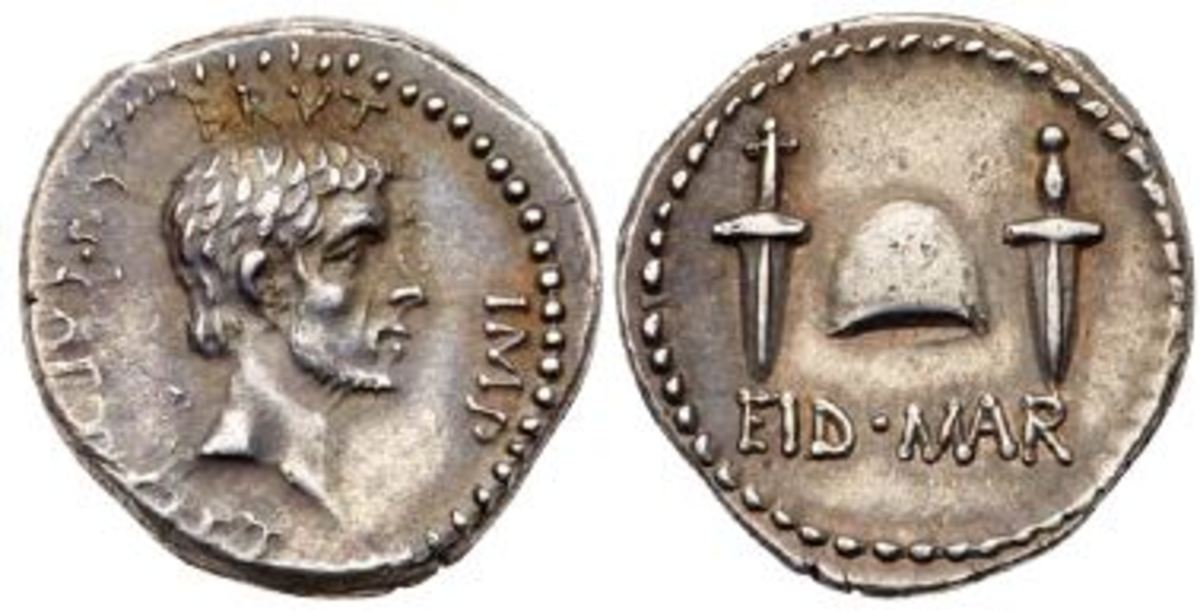 Brutus EID Mar: One of the finest examples of the famous EID MAR (Ides of March) denarius of 42 BC, depicting Brutus and marking the assassination of Julius Caesar. (Photo credit: Lyle Engleson, Goldberg Coins & Collectibles.)