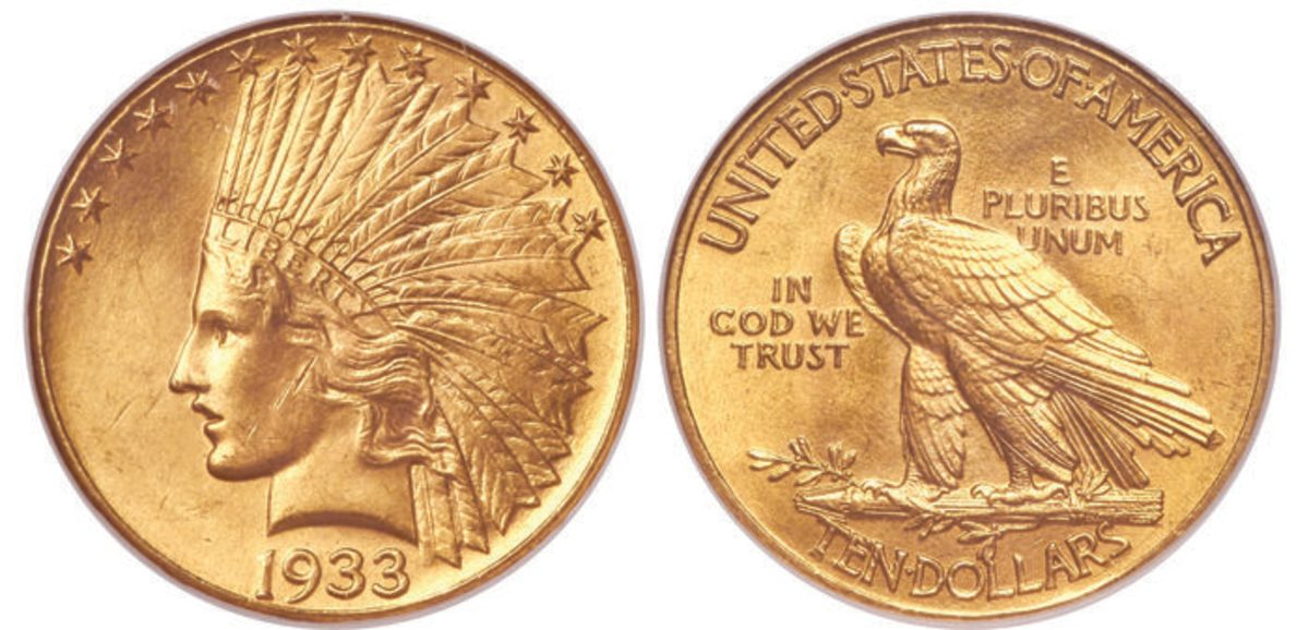 The rare 1933 Indian eagle, graded MS-65 by NGC, will likely be a top-earner.