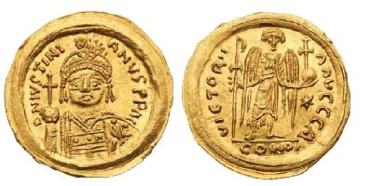 Justinian I: A rare Mint State example of a Justinian I gold solidus of 527-565 struck in Rome. (Photo credit: Lyle Engleson, Goldberg Coins & Collectibles.)