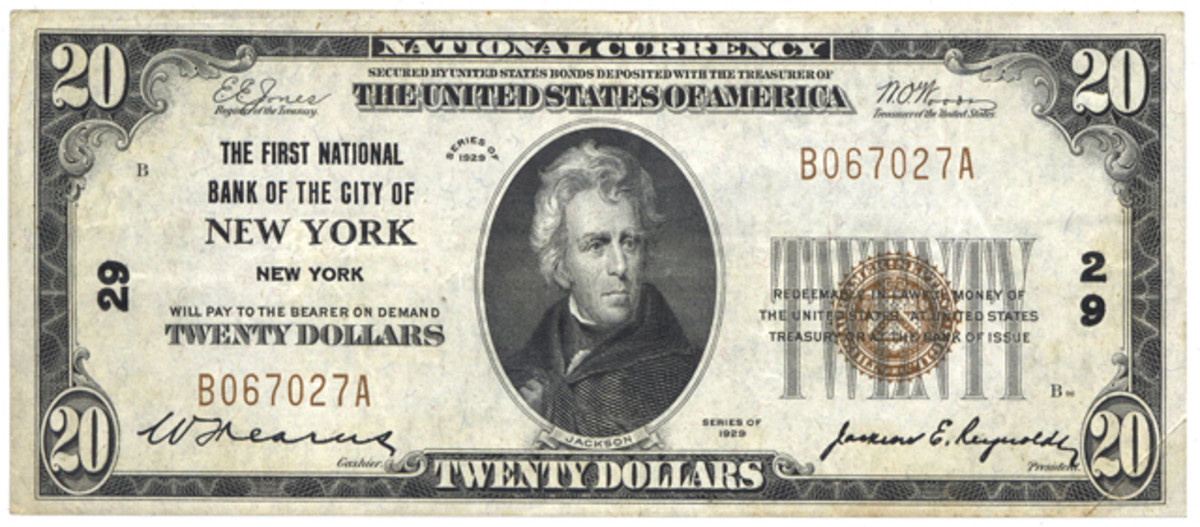 The Glass-Borah Amendment caused $220 million worth of Series of 1929 Type 1 nationals to be added to the existing $670 million National Bank Note circulation by May 1933. The primary winners were the big city banks. The officers of this New York bank increased their circulation from $8.5 to $9.9 million between October 1931 and 1933, but their capitalization remained constant at $10 million.