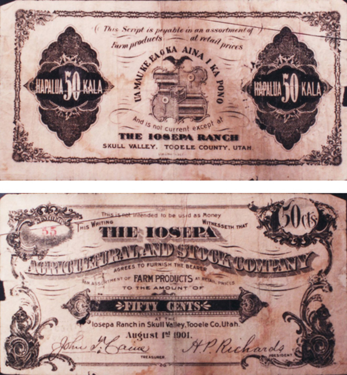 The face and back of a scrip issue of the Iosepa Agricultural and Stock Company.