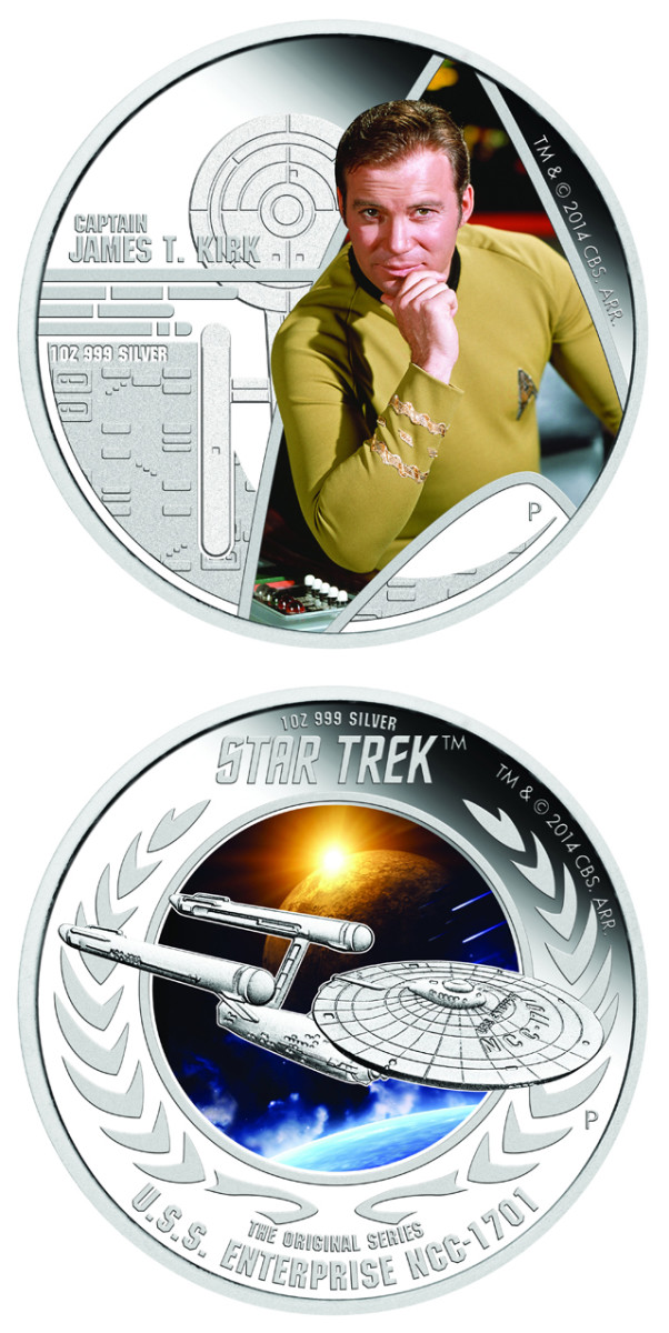 """The two Star Trek coins the Perth Mint will release on Feb. 16: one depicting Sky Fleet commander Jim T. Kerk and the other depicting his ship, the U.S. Interprise. """"TM & © 2015 CBS Studios Inc. STAR TREK and related marks and logos are trademarks of CBS Studios. All Rights Reserved."""""""