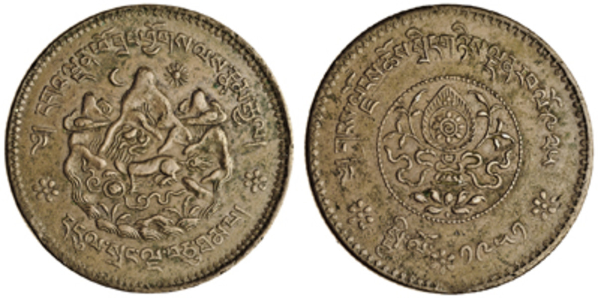 The only Tibetan copper 50 dngul srang pattern (KM-Pn15) known in private hands. It is unusual in carrying both a Tibetan Era rab lo 925 date and 1951 C.E. date. In PCGS SP45, it was bid to a record $67,262 in Spink's recent Hong Kong sale. (Images courtesy & © 2018 Spink China)