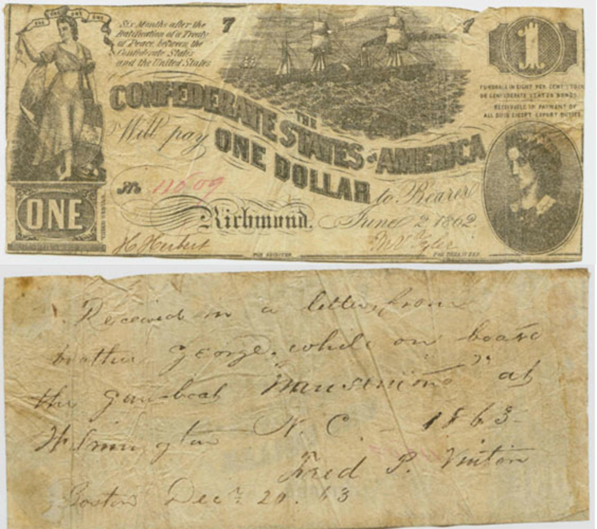 The reverse of the Confederate $1 note with the inscription from Fred Vinton describing the note's travels.