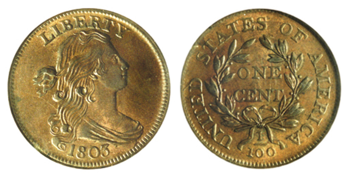 The 1796-1807 Draped Bust large cents featured a new look for Liberty with her hair tied in a bow. With more than 16 million produced, several varieties are relatively inexpensive. (Images courtesy Heritage Auctions)