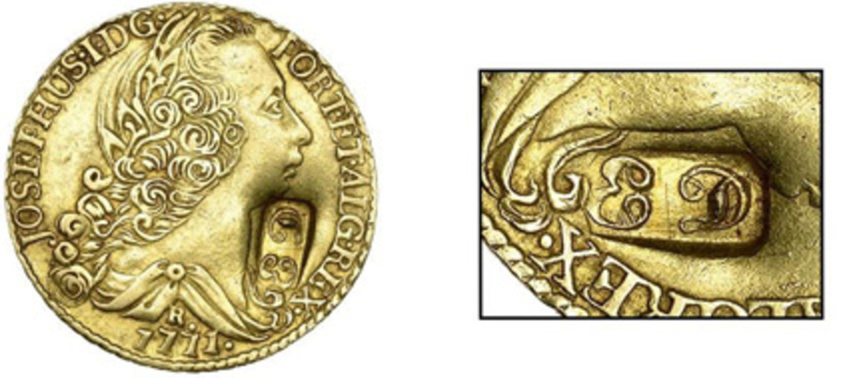 Obverse and countermark of the only known example of an Essequibo & Demerara 22 guilders (Pridmore 1; cf. KM-3). Struck on a counterfeit 6,400 réis of Joseph I, it sold for $72,250. (Images courtesy DNW)