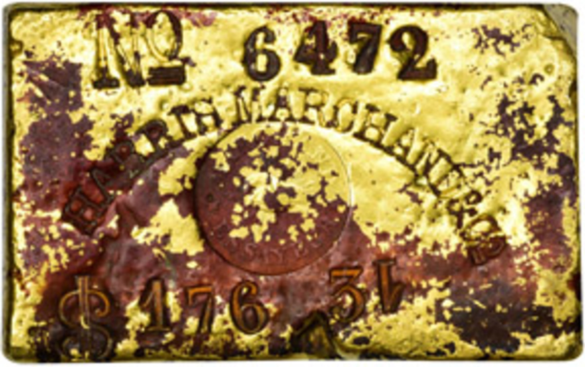 """Selling for $138,000 was this Harris, Marchand & Co. 10.07 ounce gold bar recoverd from the """"S.S. Central America."""""""