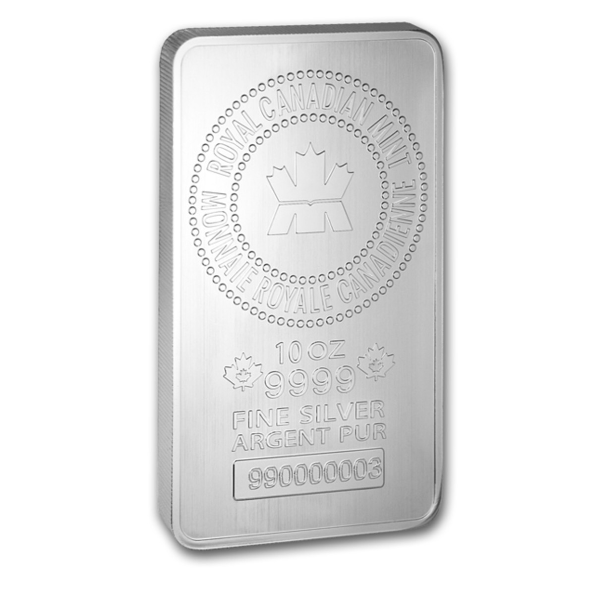 Obverse of the new RCM 10-ounce silver bullion bar (Image used with permission of APMEX)