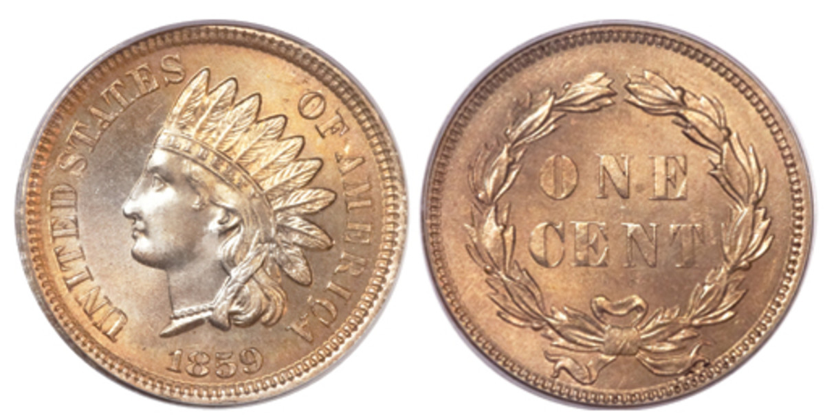 A one-year issue, the 1859 Indian Head with Laurel Wreath reverse is a must-have for every cent type collection. (Images courtesy Heritage Auctions)