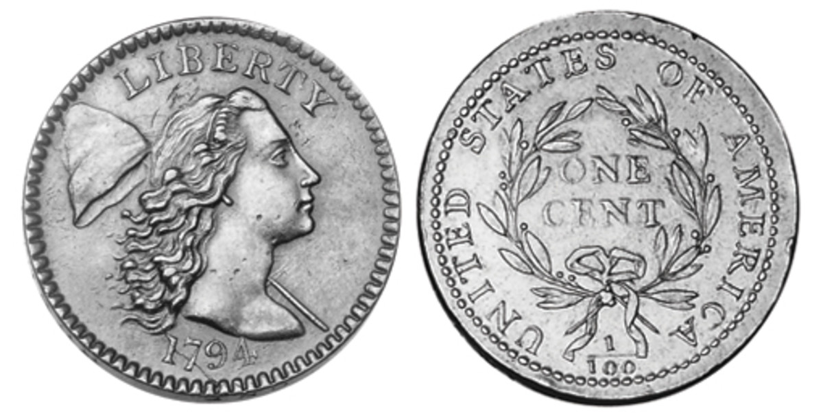 More than 1.5 million cents were produced between 1793 and 1796, depicting Liberty facing right with flowing unbound hair. To her left, there's a staff with a cap visible.