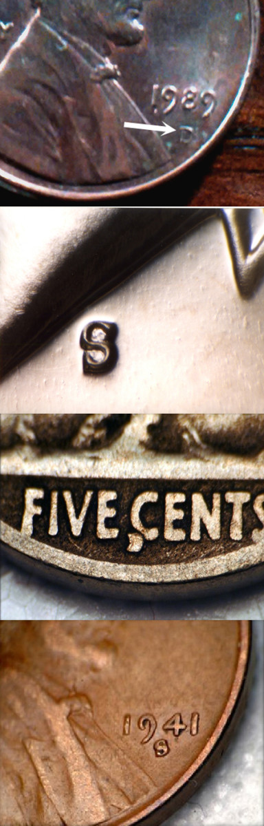 """From top to bottom, a very low """"D"""" on a 1989-D cent from Curtis Jordan; an inverted """"S"""" mintmark on a 1968-S Kennedy half from Joe Crowder; a 1916-D """"embedded D"""" Buffalo nickel that Joe Beaupied says is common, and a 1941-S cent with a widely tilted mintmark."""