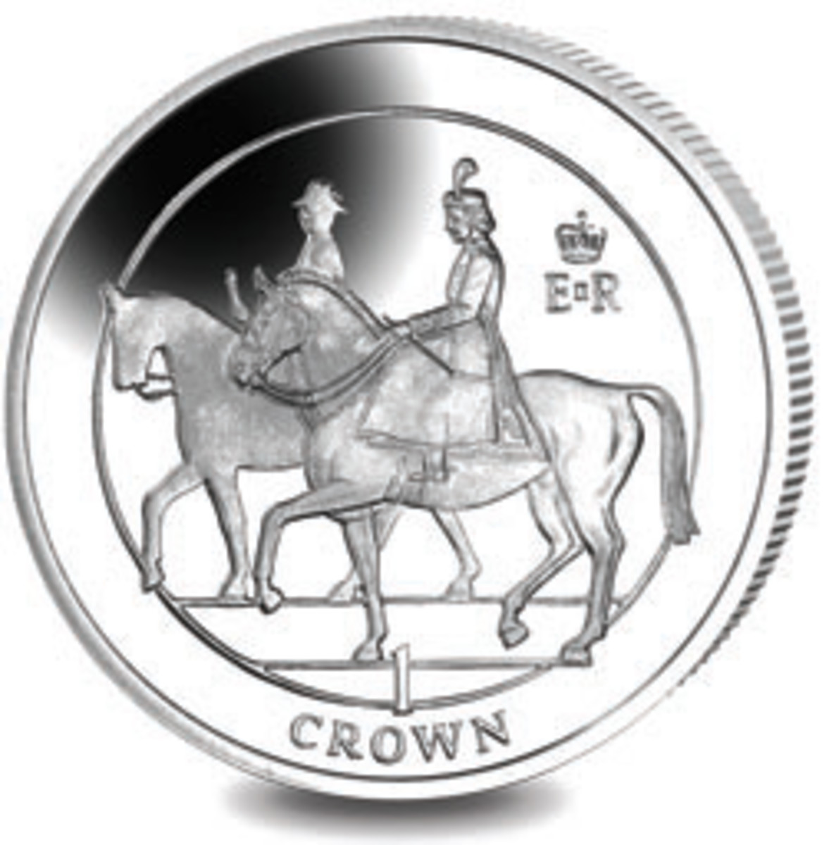 Tribute coin from Ascension Island (one crown). (Image courtesy Pobjoy Mint)