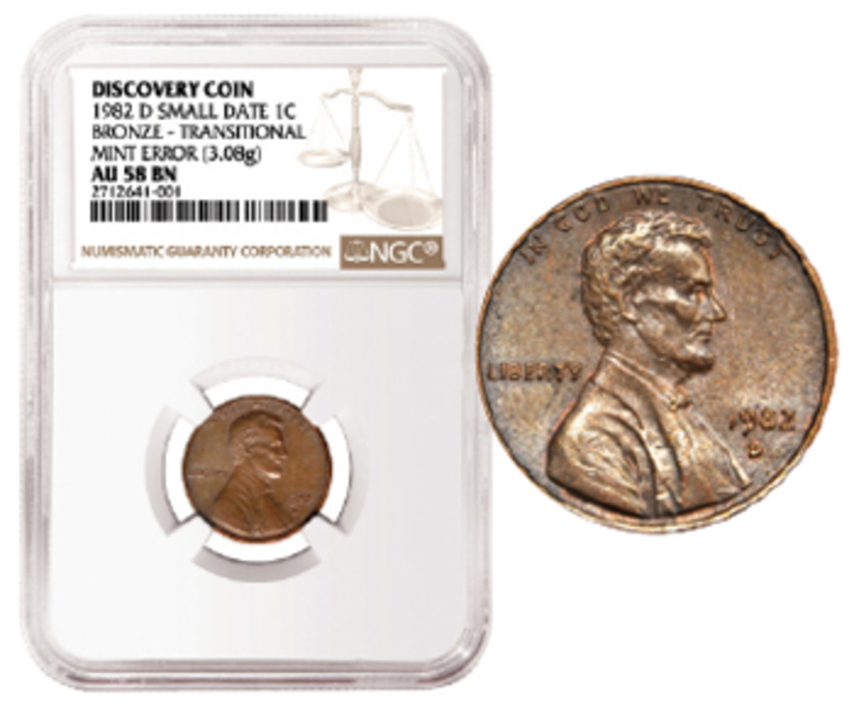 The author's one-of-a-kind 1982-D Small Date cent struck on a copper planchet.