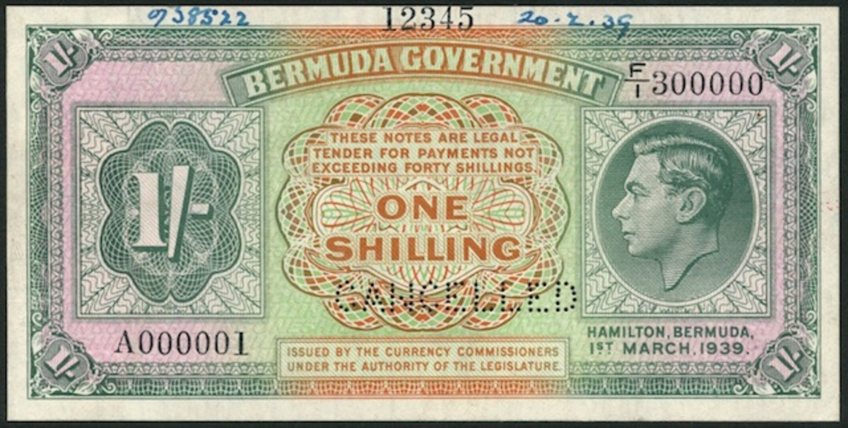 Bermuda specimen uniface one shilling of March 1, 1939, P-6s, that took $8,874. Paper emergency issues of one shilling and two shillings and sixpence were printed to alleviate an expected shortage of coinage in Bermuda during World War II. The notes arrived but were never issued and were subsequently destroyed. The one shilling is the rarer of the two.