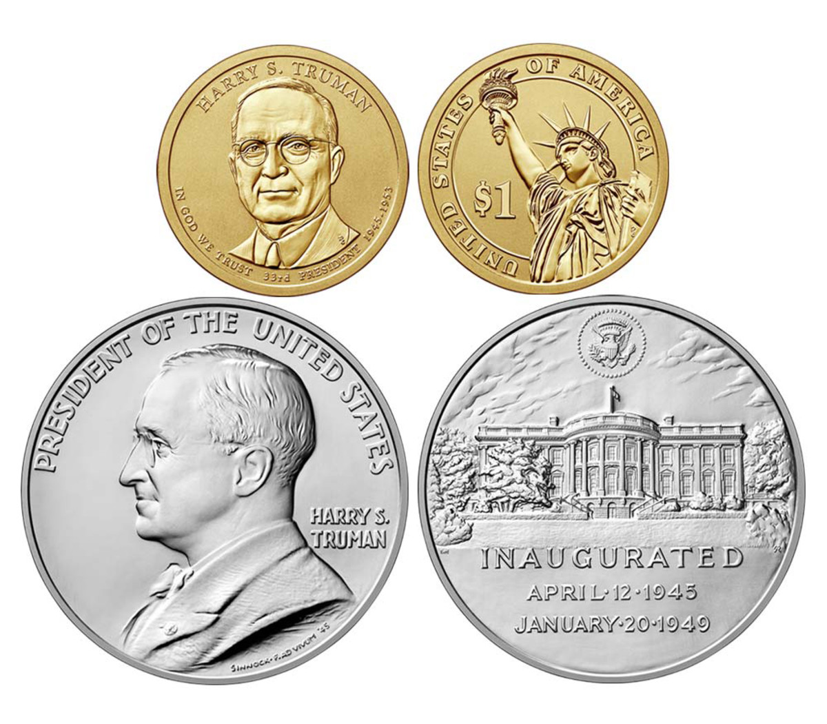 The Truman Coin and Chronicles set contains a reverse proof Truman Presidential dollar and silver Presidential medal.