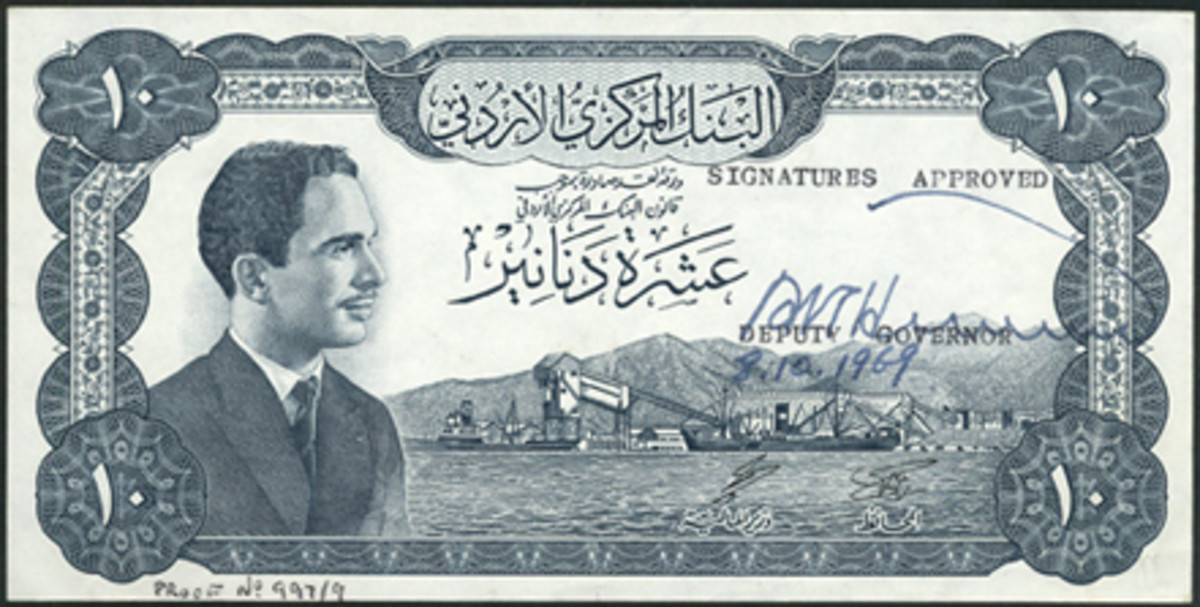 King Hussein features of this Jordan 10 dinar die proof, P-12, that fetched $8,938 in EF.