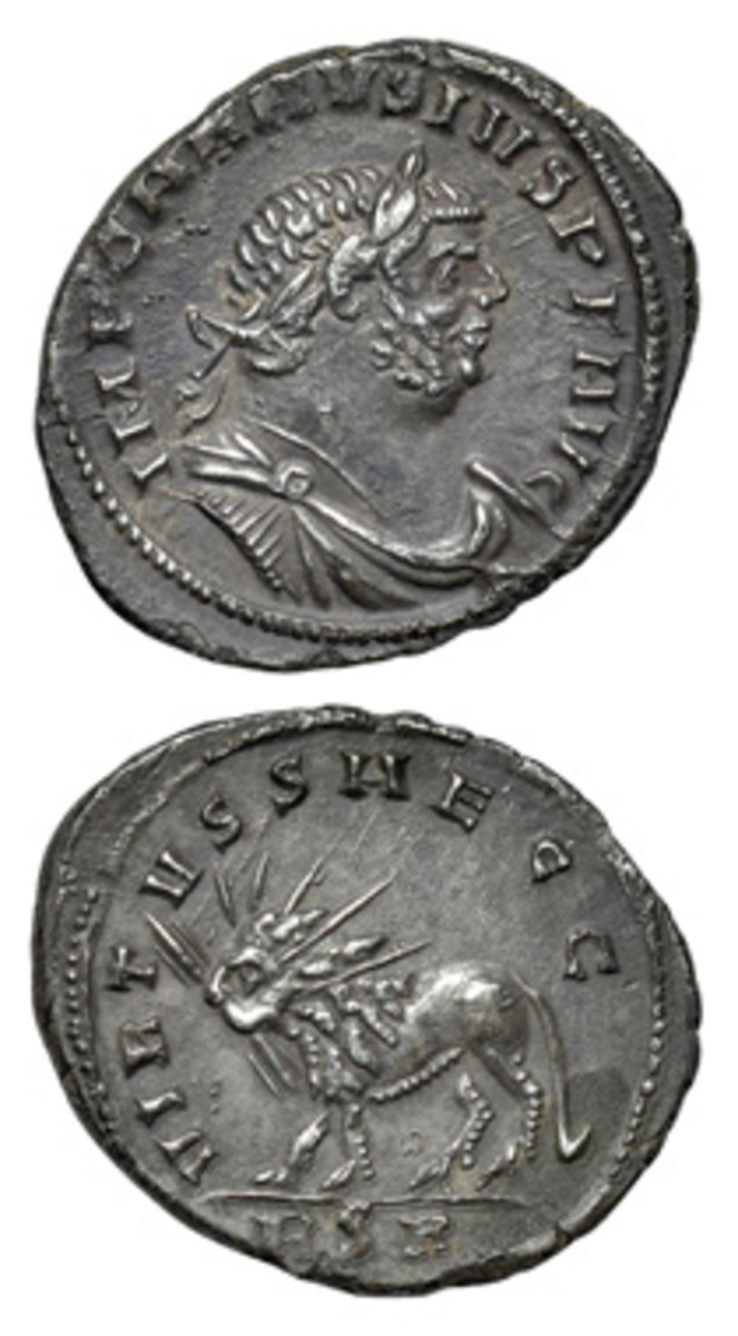 "The extremely rare 2.99 g denarius of the rebel emperor of Britain Carausius struck at London c. 289-90 C.E. The obverse legend reads IMP CARAVSIVS PI AVG. On the reverse is a radiate lion with thunderbolt in mouth. This may refer to a passage in the Thirteenth Sibylline Oracle, ""Then shall a dread and fearful lion come, sent from the sun, and bearing forth much flame."" (Images courtesy & © Dix Noonan Webb Body)"