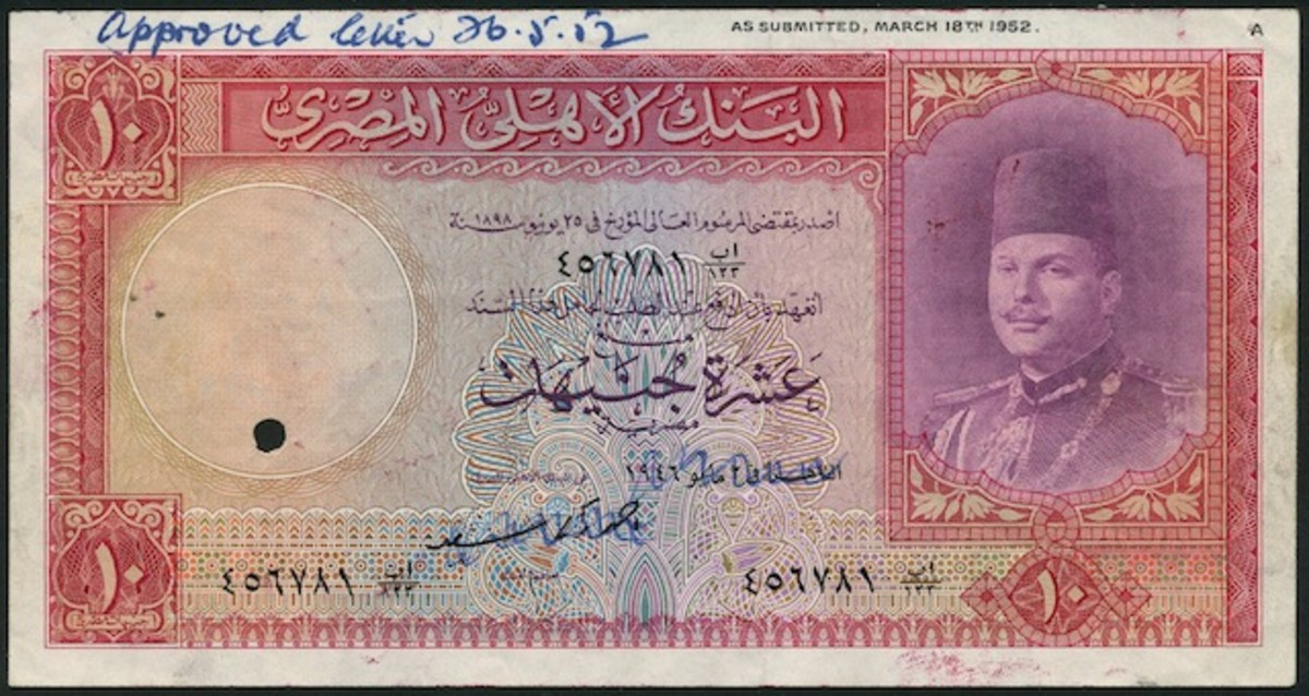 Extremely rare National Bank of Egypt, specimen proof £10 of 1946, Not in Pick, that topped Spink's April sale with a price of $82,695. The note was never issued due to overthrow of King Farouk in July 1952.