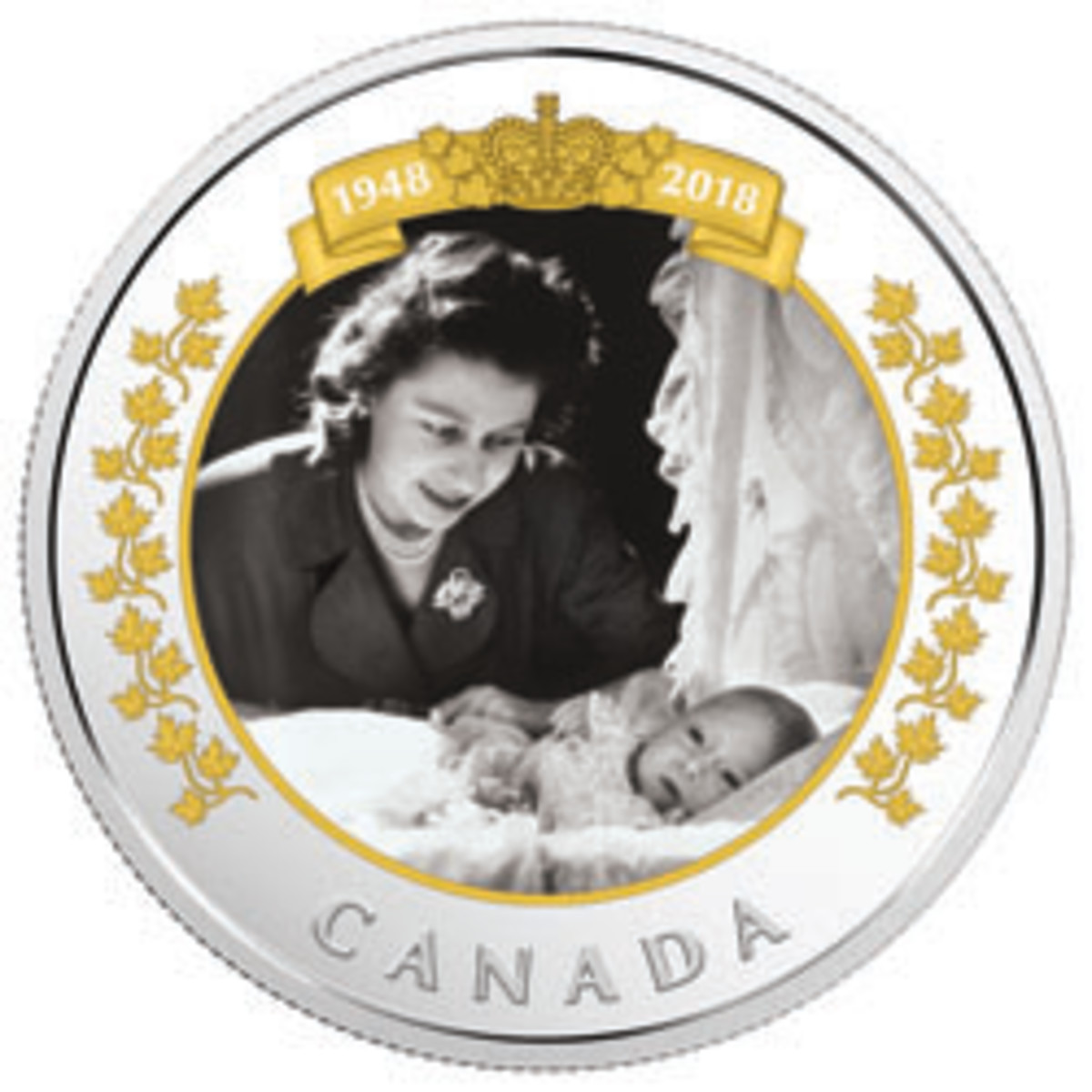 The first of two colored silver $20 coins from Canada marks the 70th anniversary of the birth of the queen's eldest son. (Image courtesy Royal Canadian Mint)