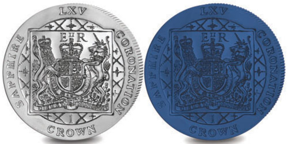 Tribute coins from Falkland Islands (crowns in both silver and blue titanium). (Images courtesy Pobjoy Mint)
