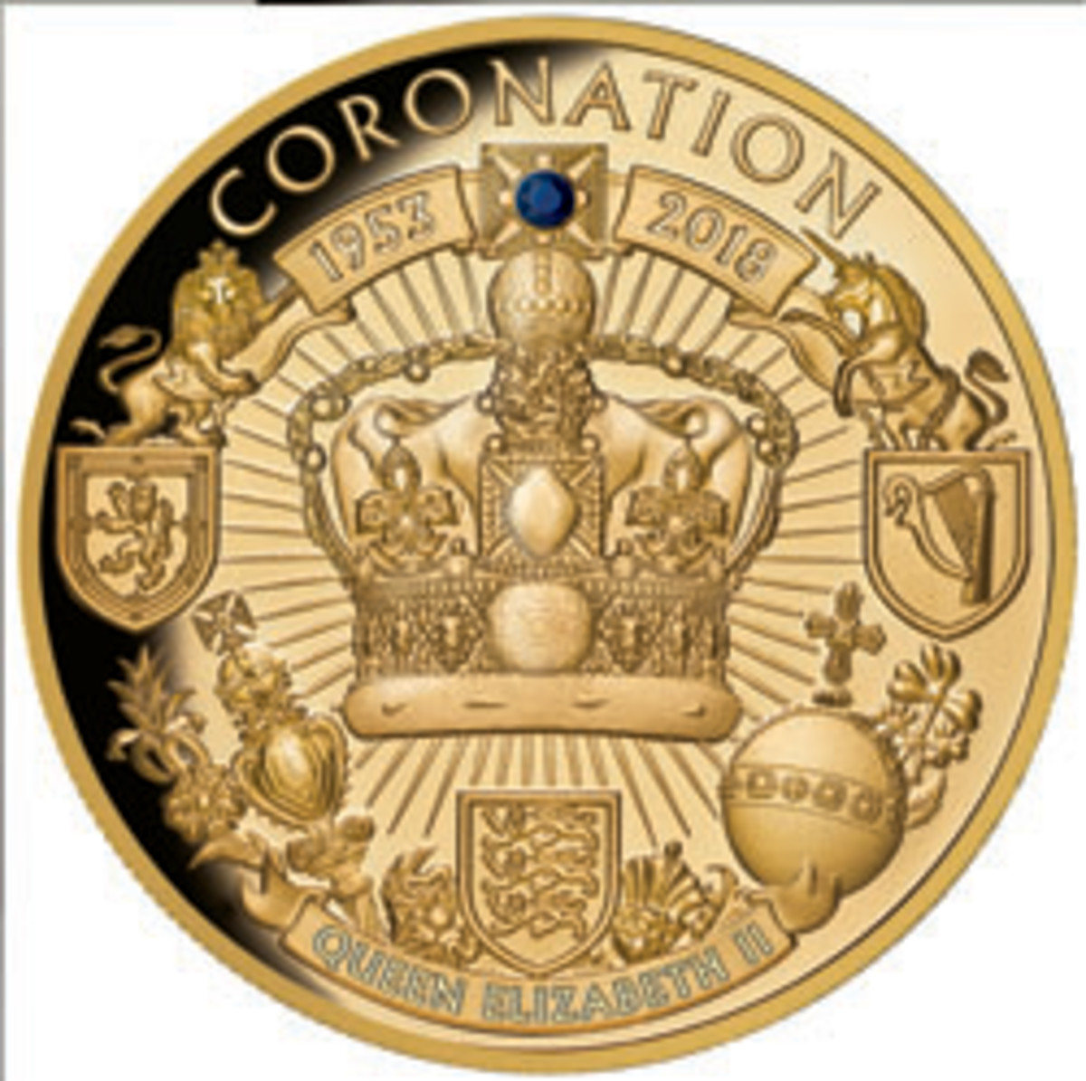 Niue's one-ounce gold $100 is focused on St. Edward's Crown used for the actual coronation. The upper cross contains an embedded sapphire. (Image courtesy Downies)