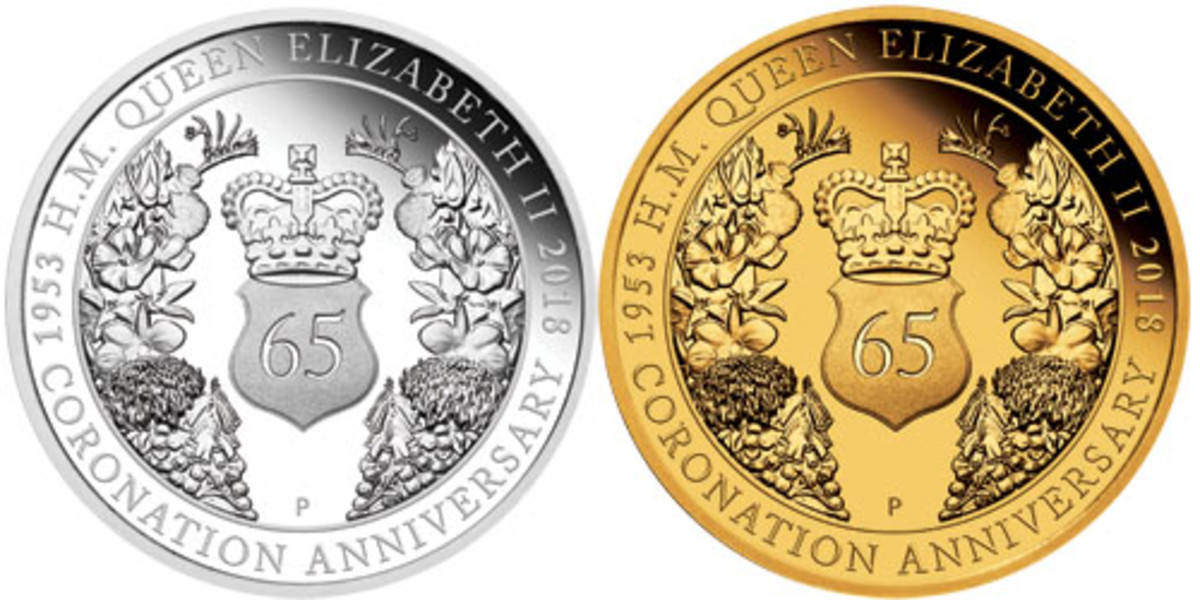 The Perth Mint's silver $1 and gold $25 proofs celebrating the 65th anniversary of the coronation of Queen Elizabeth II. Australian floral tributes surround St. Edward's Crown on the reverse. (Images courtesy & © The Perth Mint)