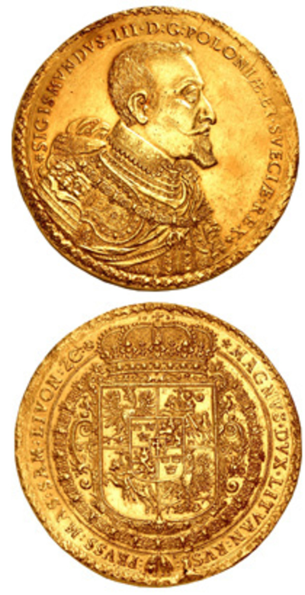Record-breaking gold 100 ducat of Zygmunt III Wasa dated 1621 (KM-H43, Friedberg 72) that sold for $2,160,000 in EF at CNG's Triton New York sale. (Image courtesy CNG)